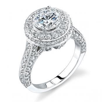 18K WHITE GOLD DOUBLE HALO ENGAGEMENT RING