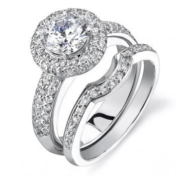 18K WHITE GOLD HALO DIAMOND ENGAGEMENT RING SET