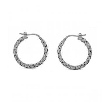 18K WHITE GOLD HOOP EARRINGS