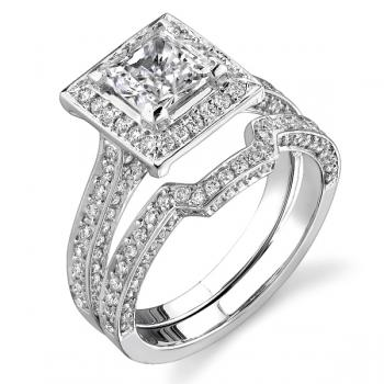 18K WHITE GOLD SQUARE HALO ENGAGEMENT RING SET