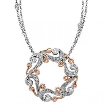 18K WHITE & ROSE GOLD DIAMOND NECKLACE