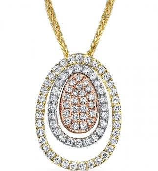 18K YELLOW, WHITE AND ROSE GOLD DIAMOND PENDANT NECKLACE