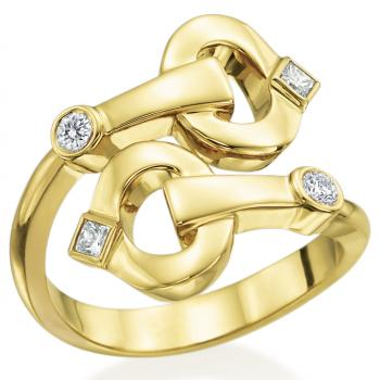 18K YELLOW GOLD AND DIAMOND BYPASS RING