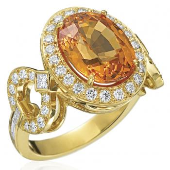 18K YELLOW GOLD AND MANDARIN ORANGE GARNET RING