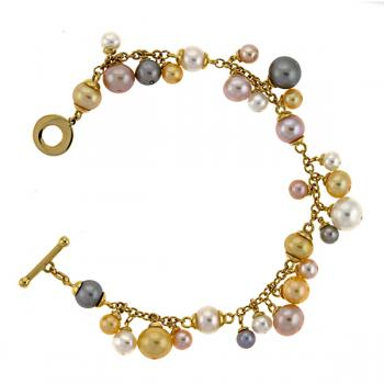 18K YELLOW GOLD AND MULTICOLORED PEARLS BRACELET