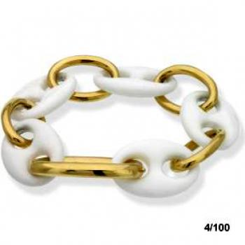18K YELLOW GOLD AND WHITE LINKS BRACELET