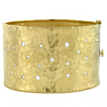 18K YELLOW GOLD CUFF BRACELET WITH DIAMONDS