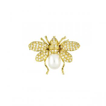 18K YELLOW GOLD DIAMOND AND PEARL BEE PIN