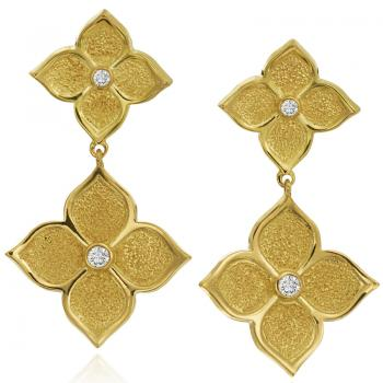 18K YELLOW GOLD DIAMOND LOTUS DROP EARRINGS