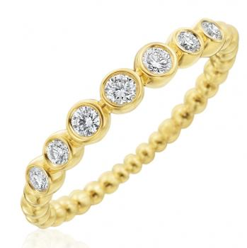 18K YELLOW GOLD DIAMOND NUTMEG RING