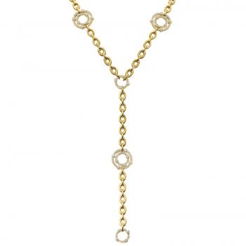 18K YELLOW GOLD DIAMOND Y SHAPED NECKLACE