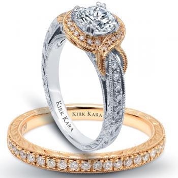 18K YELLOW & WHITE GOLD DIAMOND ENGAGEMENT RING SET