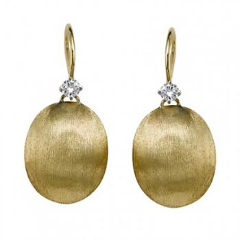 18K Yellow Gold Hand Etched with Diamond Bail
