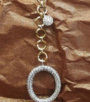 18K Yellow Gold and Diamond Link Chain Necklace