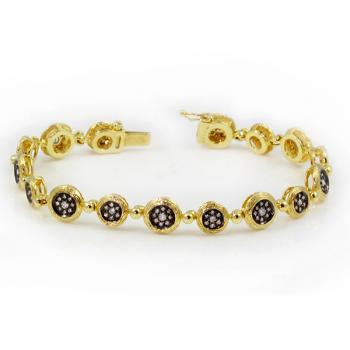 Fashionable Diamond bracelet with Diamonds set in a black background and Yellow Gold