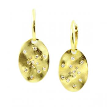 Delightful, modern hammered Gold earrings with small Diamonds