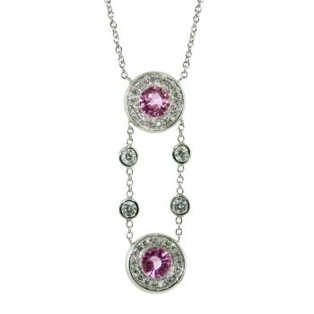 Darling white gold necklace with Fancy Pink sapphires and Diamonds