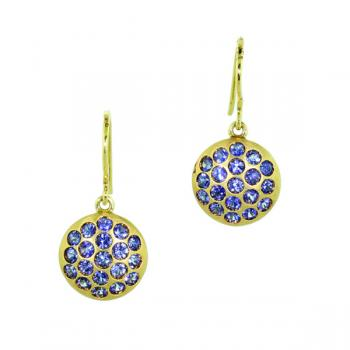 Charming yellow gold and sapphire drop earrings