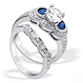 Diamond and half moon sapphire engagement ring with diamond matching band