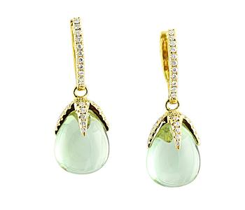 Unique, gorgeous Green Amethyst and Diamond earrings set in 18K Gold