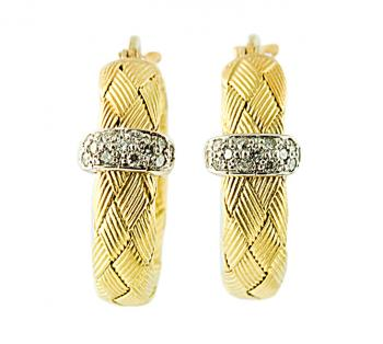 Stunning braided brushed two-tone Gold and Diamond earrings