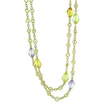 "Captivatingly fun 35.5"" Yellow Gold chain necklace accented with Citrine, Amethyst and Green Quartz gemstones"