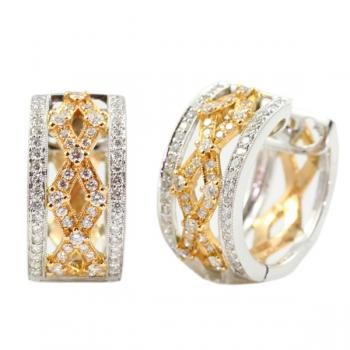Beautifully distinctive two-tone Diamond 'huggie' style earrings
