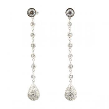 Enticingly lovely pave Diamond drop earrings