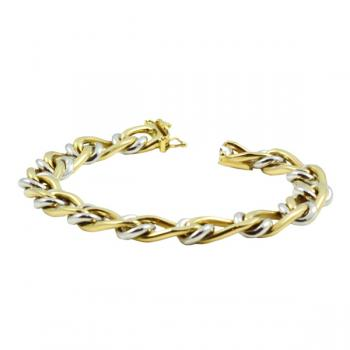 Contemporary eight inch Yellow and White Gold bracelet