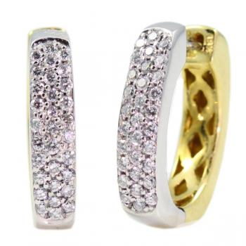 Fashionable two tone Diamond hoop earrings set in White and Yellow Gold