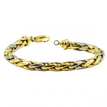 Contemporary, timeless sophistication eight inch two-toned Gold bracelet