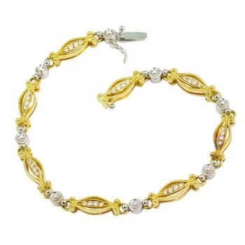 Charming two tone Diamond bracelet set in Yellow and White Gold