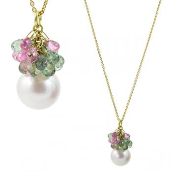 Magical Akkoya Pearl drop pendant with multi-colored Sapphires on an 18K Gold chain