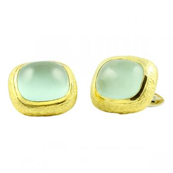 Stylish 18K Gold and Aquamarine cufflinks