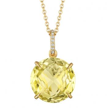 Captivating Lemon Quartz pendant set in yellow gold with an enticing finished back and Diamonds on the bail