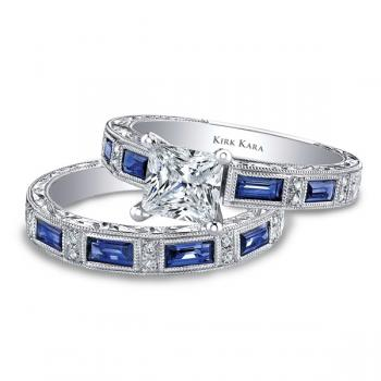 Diamond and sapphire hand engraved engagement ring featured in national advertisements