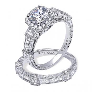 Diamond hand engraved engagement ring featured in national advertisements