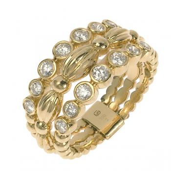 3-BAND YELLOW GOLD AND DIAMOND RING