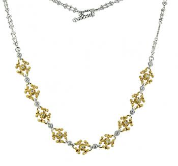 Charming, intricate two-tone 18K Gold and Diamond necklace
