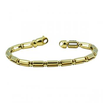 Contemporary Gold barrel linked bracelet