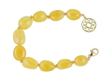 Fashionably fun Yellow Opal bead bracelet with 18K Yellow Gold