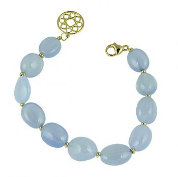 Sexy, contemporary Blue Chalcedony bead bracelet with 18K Yellow Gold