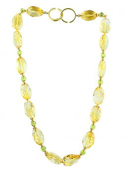Distinctively fashionable 16� Citrine and Peridot bead necklace with a Diamond in the 18K Gold clasp