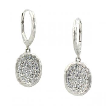 Contemporary hammered White Gold earrings with Pave Diamonds