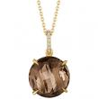 Fashionable briolette-cut Smoky Quartz pendant set in yellow gold with a unique finished back.  Bail set with Diamonds.