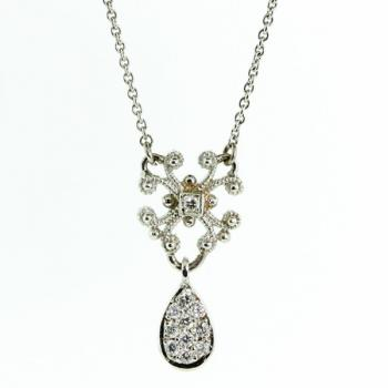 Elegantly distinctive Diamond pendant with diamonds on the chain