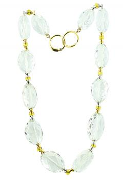 Stunningly elegant 16� Rock Crystal and Yellow Beryl necklace with a small Diamond in the 18K two-tone Gold clasp
