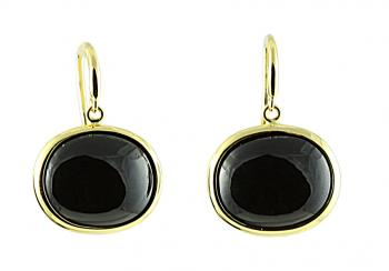 Elegantly simple Black Spinel earrings set in 18K Gold French Wire