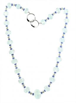 Lusciously gorgeous 17� Aqua, Sapphire and Pearl fluted bead necklace set with an 18K White Gold clasp with two Diamonds
