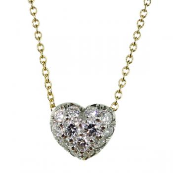 Lovely Diamonds in platinum heart pendant available with white or yellow gold chain